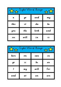 Sight Word BingoPrep/Foundation StudentsWritten in Victorian Modern Cursive and Australian Spelling