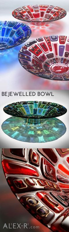 Bejewelled Bowl is an opulent glass vessel in five jewel-like colours. When illuminated from above, the bowls project breathtaking patterns of coloured light on the surface below. Fused Glass Ornaments, Fused Glass Plates, Fused Glass Jewelry, Fused Glass Art, Glass Vessel, Glass Ceramic, Mosaic Glass, Glass Bowls, Stained Glass Crafts