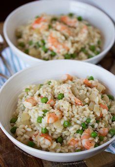 Shrimp and Pea Risotto | tablefortwoblog.com
