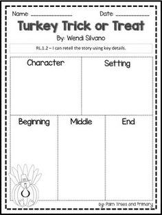 This is an activity to use with a cute new Halloween book - Turkey Trick or Treat by Wendi Silvano. I use it as a Reader's Response Journal entry with my firsties.RL.1.2  I can retell the story using key details.Enjoy!Courtney @ Palm Trees and Primary