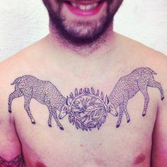 deer #chest #tattoos