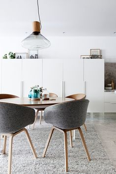 Melbourne Home · Eddie Kaul and Richa Pant Kitchen / dining details. Dining table by Daniel Barbera, chairs by Hay, glass domes by Amanda Dziedzic. Via The Design Files. Dining Room Design, Dining Area, Dining Chairs, Room Chairs, Dining Rooms, Fabric Chairs, Kitchen Chairs, Office Chairs, Kitchen Dining