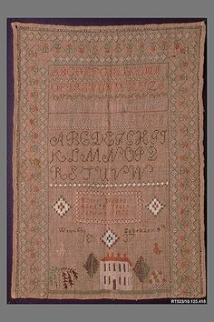 Sampler, by Ester Wildes, 1837. From the collections of the Metropolitan Museum of Art.