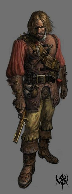 man leather armor beard gun tools