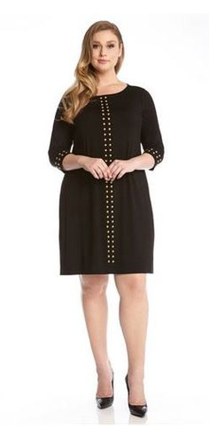 PLUS SIZE BLACK 3/4 SLEEVE GOLD STUDDED WORK DRESS #Karen_Kane #Black_and_Gold…