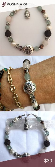 ✨ Essential Oil Yoga Bracelet  Beautiful Artisan made Yoga Bracelet featuring Antique carved Silver Lotus flower Focal Bead with Freshwater Pearls, Faceted Aqua Agate, Sea Green Picasso glass, Crystal and Brown Lava Stone and Buddha Charm  Can be used with Essential Oil ( put a drop of Oil on Lava Bead) ✨ Includes sample Essential Oil Jewelry Bracelets