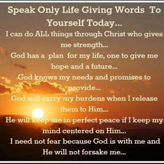 Speak life giving words to yourself and others today my friend (Jn 6:63). #LiveFreeLoveWell 800-910-5060 BrokenChainsIntl.com