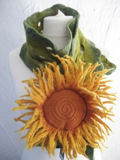 Sunflower corsage scarf by lonelyhearts on Etsy, £35.00