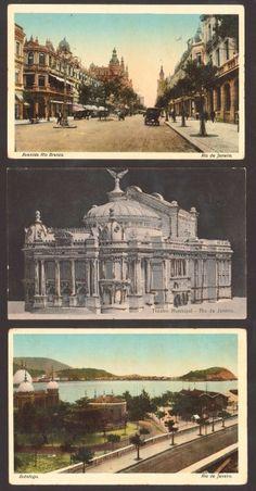 (3) Cartões Postais - Theatro Municipal / Avenida Rio Branco / Botafogo - Rio de Janeiro início do S