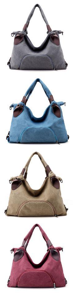 US$26.37  Canvas Women Tote Bag Patchwork Handbag Crossbody Bag