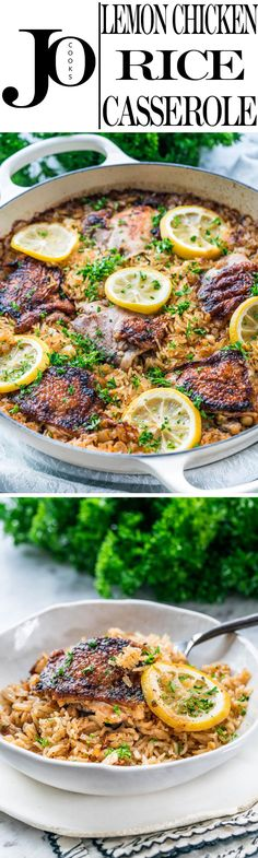 This Lemon Chicken Rice Bake has incredible lemon herb flavors, all done in ONE POT and super fast to prepare!Perfect for any night of the week!