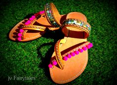 Handmade Boho Sandals Handmade leather sandals, decorated with multicolored ethnic straps, pom poms Please Note ~All of our items are made to order Boho Sandals, Greek Sandals, Cute Sandals, Espadrille Sandals, Cute Shoes, Leather Sandals, Shoes Sandals, Dress Shoes, Pom Pom Sandals