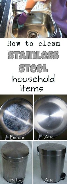 How to clean stainless steel household items - Comment nettoyer les surfaces en inox Household Cleaning Tips, House Cleaning Tips, Deep Cleaning, Spring Cleaning, Household Items, Cleaning Hacks, Kitchen Cleaning, Household Cleaners, Green Cleaning Recipes