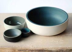 Mooie schalen in grijsblauwe tinten #leenbakker
