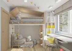 Schickes Loft Bed für ein gemeinsames Kinderzimmer.
