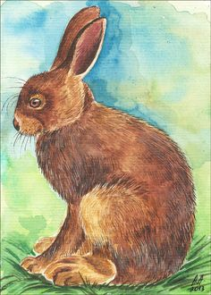 Original Aquarell Bild Osterhase Hase Kaninchen Tier Watercolour Rabbit Easter Bunny Animal