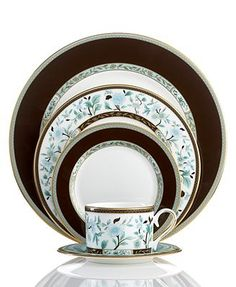 Marchesa by Lenox Dinnerware, Palatial Garden 5 Piece Place Setting - Fine China - Dining & Entertaining - Macy's Fine China Dinnerware, Dinnerware Sets, Vase Deco, Vases, China Sets, China Patterns, Royal Doulton, Delft, Marchesa