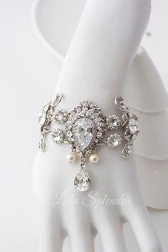Crystal Wedding Cuff Bracelet Statement Bridal by LuluSplendor