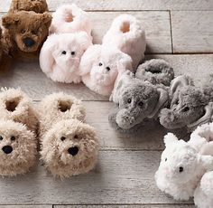 plush animal slippers. keep little toes cozy and little ones entertained. #rhbabyandchild