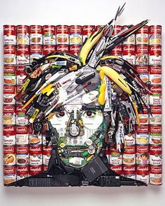 If Its Hip, Its Here: Red Vines, Candy & Junk Become Celebrity Portraits In The Hands Of Jason Mecier. 3d Portrait, Mosaic Portrait, Collage Portrait, Andy Warhol, Junk Art, Art Pop, Collages, Trash Art, Found Object Art