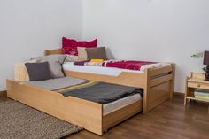 """Single bed """"Easy Sleep"""" K1/h with trundle bed frame and 2 cover plates, solid beech wood, clearly varnished - 90 x 200 cm"""