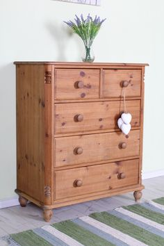 £140 Rustic 2 over 3 pine chest of drawers with age marks from daily use, could be painted - check out all our furniture at -  http://www.sussexpineonline.co.uk/