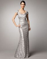 silver dress-david meister scoopneck sequin gown