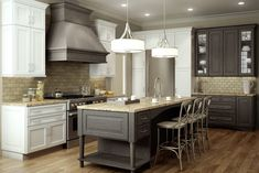 Beautiful Dura Supreme Cabinetry Crafts For Interior Design: Delightful Kitchen Island And Dura Supreme Cabinetry With Counter Height Chairs Also Drum Pendant Lights