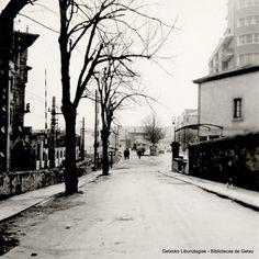 Telletxe kalea, barrerak eta Algortako tren geltoki zaharra, 1962 / Calle Telletxe, las barreras  y antigua estación de Algorta, 1962 (ref. Z00872)