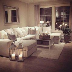 My perfect cosy living room! Someone please buy me a sofa just like this :-)…. My perfect cosy living room! Someone please buy me a sofa just like this :-)…. but maybe in a more grey shade- I cannot be trusted with this much white Romantic Living Room, Cozy Living Rooms, Living Room Sofa, Home Living Room, Apartment Living, Living Room Designs, Cozy Apartment, Living Room Ideas, Living Room Goals