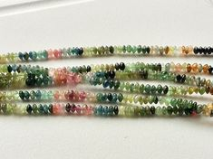 Multi Tourmaline Rondelle Beads Green Tourmaline by gemsforjewels