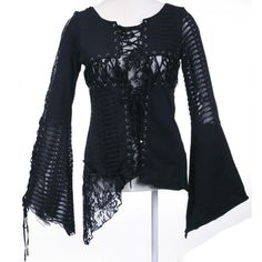 2 Piece Black Emo Burlesque Gothic Fashion Kimono Shirt Tops SKU-11407064