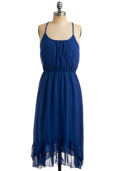 Blue-per Free Dress - Blue, Solid, Ruffles, Tiered, Casual, A-line, Empire, Spaghetti Straps, Racerback, Spring, Summer, Long