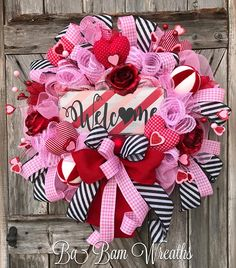 Valentine Wreath, Valentine Decor, Valentine Door, Welcome Sign WELCOME ~❤️~ ''Tis the season for LOVE~ we're talking Valentines honey! Greet the season and adorn your door with this beauty! Filled with lots of charm, impeccable design, an eye to pop on your door~ this wreath is not