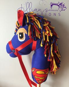 Superman Hobby horse by Jillianshandmade on Etsy Sewing Crafts, Sewing Projects, Stick Horses, Cowboy Birthday, Cowgirl Party, Horse Pattern, Horse Mane, Hobby Horse, Coordinating Fabrics