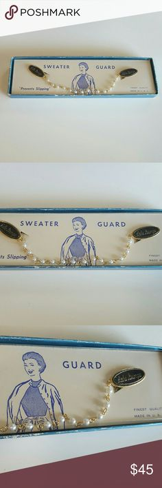 "Vintage Sweater Guard Clips This lovely vintage sweater guard has clips that hold your sweater at the top by the collar. This is brand new unused and in its original box. By Lake George and made in the USA gold chain of plastic pearls 7 1/2"" long and great for that retro trendy and classic look. Great with your favorite shirt and jeans. Other great accessories in my closet. Vintage Jewelry Necklaces"