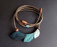 macrame necklace macrame leaf necklace boho por Mediterrasian