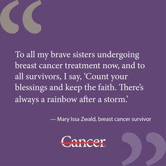 Mary Issa Zwald is a 12-year breast cancer survivor.