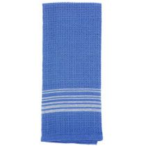 """Blue Cotton Kitchen Towels with White Stripes, 25x15"""""""