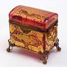 glass casket, Bohemian, late 19th Century                                                                                                                                                      More
