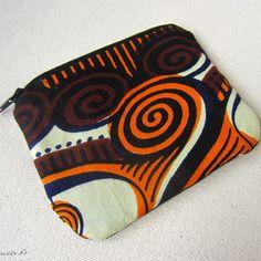 Trousse tissu wax motif africain orange et chocolat (envoi 0€)