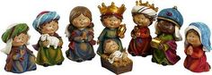 "8pc Children Nativity Set made of resin. Size 2-3/4"" x 2-3/4"" x 5-1/2"""