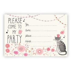 ◆A cute party invitation you can that that you can print yourself! Birthday Party Invitations Free, Printable Invitations, Printables, Kitten Party, Cat Party, 10th Birthday Parties, Cat Birthday, Dogs Party, Party Fiesta