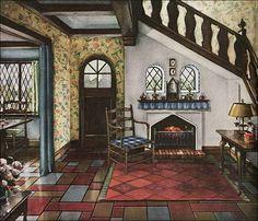 Tudor Style Cottage Front Planters Porch Dream Home