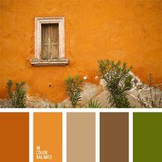 desert tones: burnt orange, orange, tan, brown & green