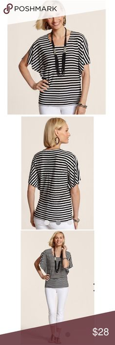 Chico's black white Horizontal Lines Andrina Too Size 2, which fits like a large. Design details that transformed our lined top: nautical stripes, split Poncho sleeves, and a tapered waist for a streamlined look. Center Sean elongates the back. Rayon, linen. NWT $68  Fast 1-2 day shipping Reasonable offers accepted Purchase 3 or more items & get a special bundle rate!  Smoke-free home Chico's Tops Blouses
