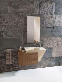 Vasque marbre et meuble en bois.