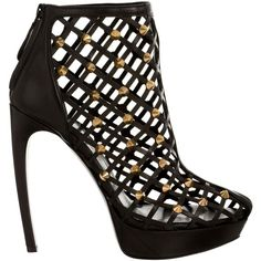 Alexander McQueen Studded Diamond Leather Cage Sandal ($2,295) ❤ liked on Polyvore