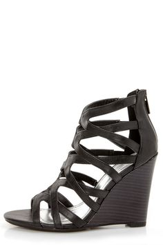 fd8c02e3d8bc Bamboo Royce 02 Black Strappy Cage Wedge Sandals