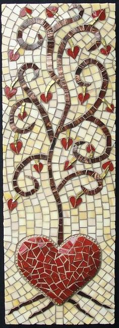 """Mosaic Heart """"Love Grows"""" by Minerva Mosiacs -- Over 50 of The Best Heart Crafts for Valentine's Day - Just gorgeous hearts to make and inspire. Even recipes! Tile Art, Mosaic Art, Mosaic Glass, Mosaic Tiles, Glass Art, Stained Glass, Mosaic Crafts, Mosaic Projects, Mosaic Madness"""